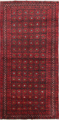 One-of-a-Kind Red Geometric Balouch Persian Hand-Knotted 3x6 Wool Runner Rug