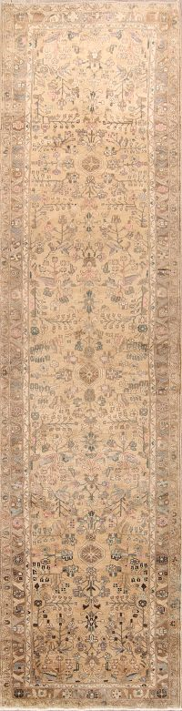 All-Over Muted Hamedan Malayer Persian Runner Rug 4x15