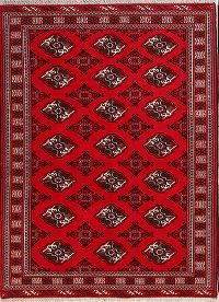 Geometric Red Balouch Persian Area Rug 5x7