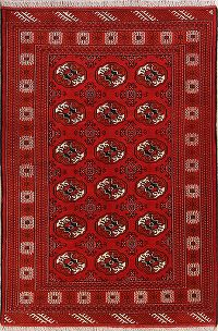 One-of-a-Kind Red Geometric Balouch Persian Hand-Knotted 5x8 Wool Area Rug
