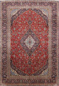 Red Floral Kashan Persian Hand-Knotted 9x13 Wool Area Rug