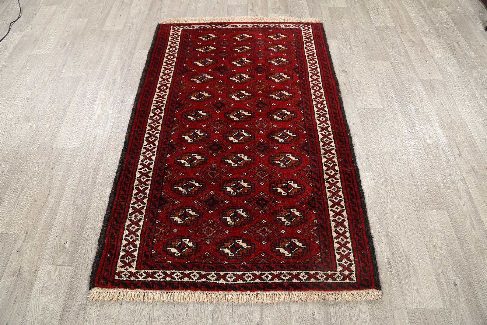 Red Geometric Balouch Bokhara Persian Area Rug 4x6