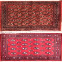 Pack of Two Geometric Turkoman Bokhara Persian Wool Rug 2x4