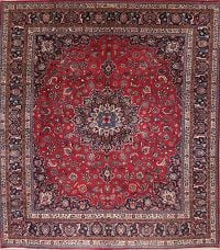 Traditional Floral Mashad Persian Hand-Knotted 12x12 Wool Square Rug