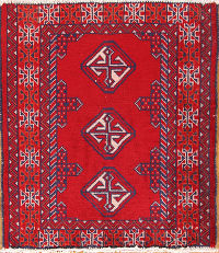 Turkoman Balouch Bokhara Persian Red Wool Rug 2x3