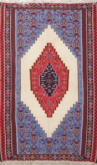 One of a Kind Geometric Senneh Persian Hand-Woven 5x7 Wool Area Rug