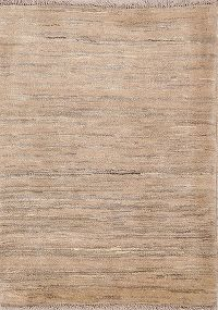 Solid Gabbeh Zollanvari Persian Modern Hand-Knotted 3x4 Wool Beige Rug