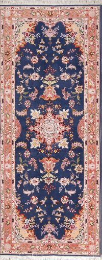 Blue Floral Tabriz Persian Hand-Knotted 3x7 Wool Runner Rug