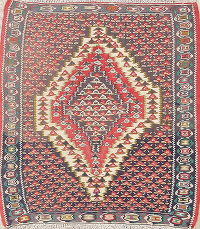Geometric Senneh Persian Area Rug 3x3 Square