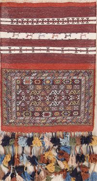 Flat-Weave Decorative Poshti Persian Rug 2x3