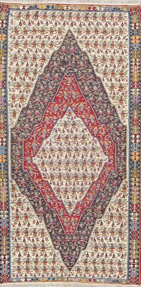 Geometric Tribal Senneh Kilim Persian Area Rug 5x9