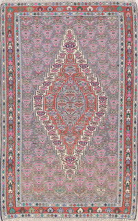 Vegetable Dye Tribal Geometric Senneh Persian Hand-Woven 5x8 Wool Area Rug