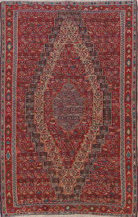 Vegetable Dye Red Senneh Persian Area Rug 6x10