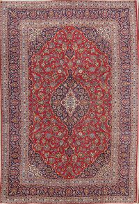 Red Traditional Floral Kashan Persian Area Rug 8x12