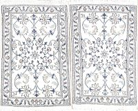 Ivory Pack of Two Floral Nain Persian Wool Rug 2x3