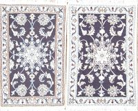 Package of 2 Floral Nain Persian Area Rug 2x3