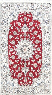 Red Floral Nain Persian Area Rug 4x7