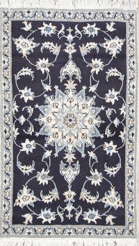 Navy Blue Floral Nain Persian Area Rug 3x5