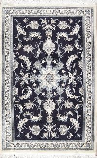 Navy Blue Floral Nain Persian Wool Rug 3x5
