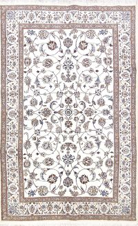 Floral All-Over Ivory Nain Persian Area Rug 6x10
