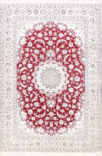 Red Floral Nain Persian Area Rug 7x10