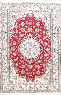 Red Floral Nain Persian Area Rug 6x10