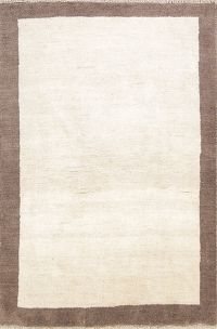 Contemporary Ivory Gabbeh Shiraz Persian Area Rug 4x6