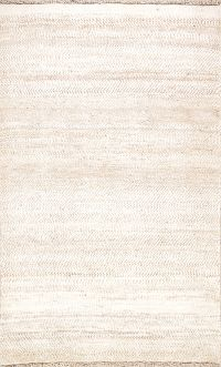 Solid Gabbeh-Shiraz Persian Modern Ivory Area Rug 3x5