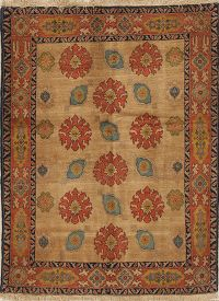 Vegetable Dye Floral Senneh Bidjar Persian Area Rug 4x5