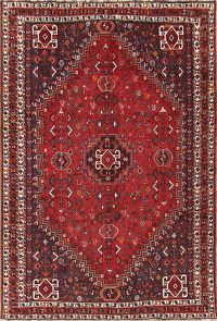 Antique Tribal Red Qashqai Shiraz Persian Area Rug 7x10