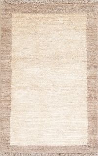 Solid Beige Gabbeh Persian Hand-Knotted 3x4 Wool Rug