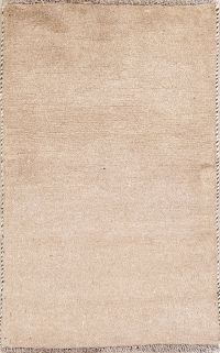 Solid Beige Gabbeh Persian Hand-Knotted 2x4 Wool Rug
