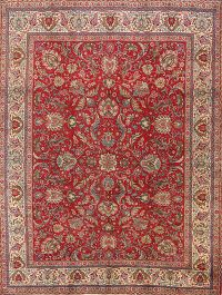 Vintage All-Over Floral Tabriz Persian Hand-Knotted 10x12 Red Area Rug