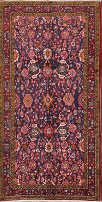 All Over Floral Wool Nanaj Persian Runner Rug 5x10