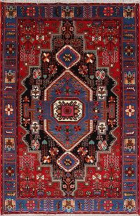 Geometric Red Navahand Hamedan Persian Hand-Knotted Area Rug Kork Wool 5x7