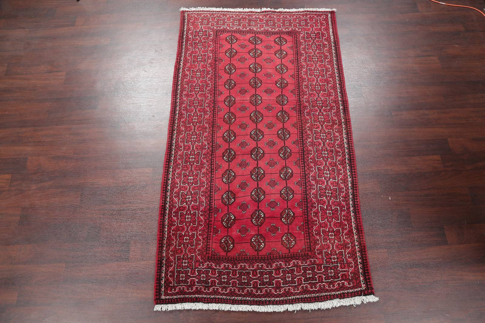 Geometric Red Balouch Bokhara Persian Hand-Knotted Runner Rug 4x8