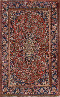 Pre-1900 Antique Floral Rust Kashan Dabir Persian Area Rug 4x7