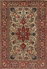 Antique Floral Bakhtiari Persian Area Rug 5x7