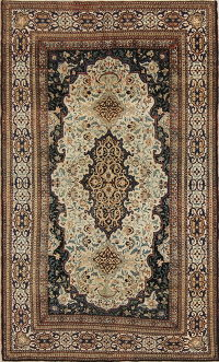 Floral Kashan Mohtasham Persian Area Rug 4x7