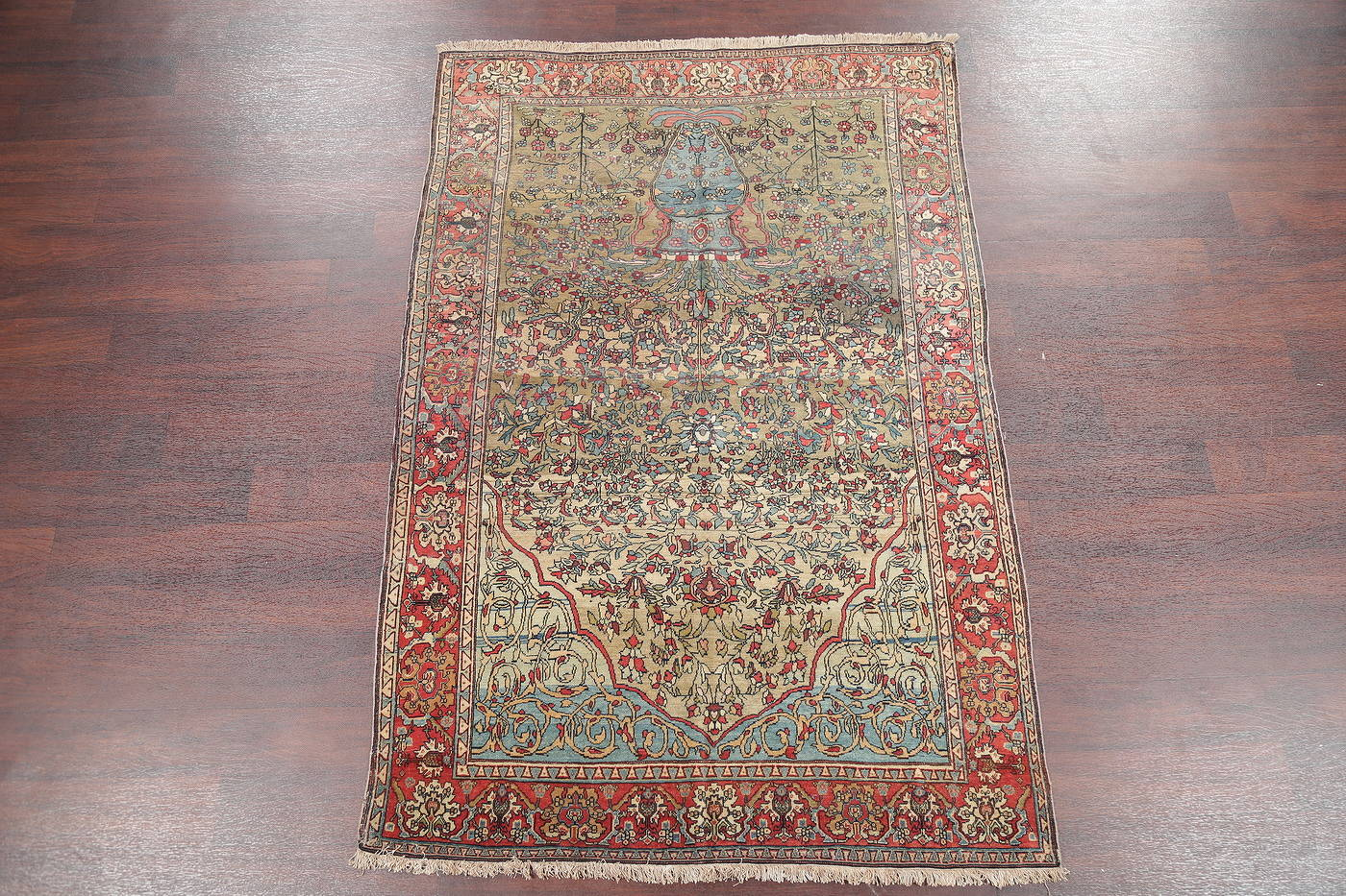 Antique Green Pictorial Kashan Mohtasham Persian Area Rug 4x6 image 2