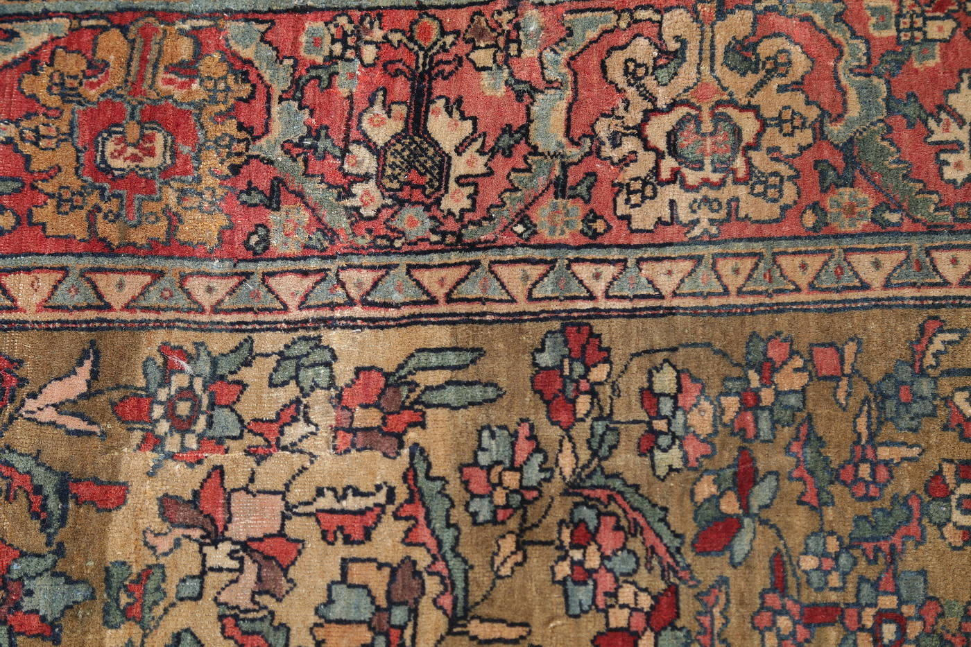 Antique Green Pictorial Kashan Mohtasham Persian Area Rug 4x6 image 9