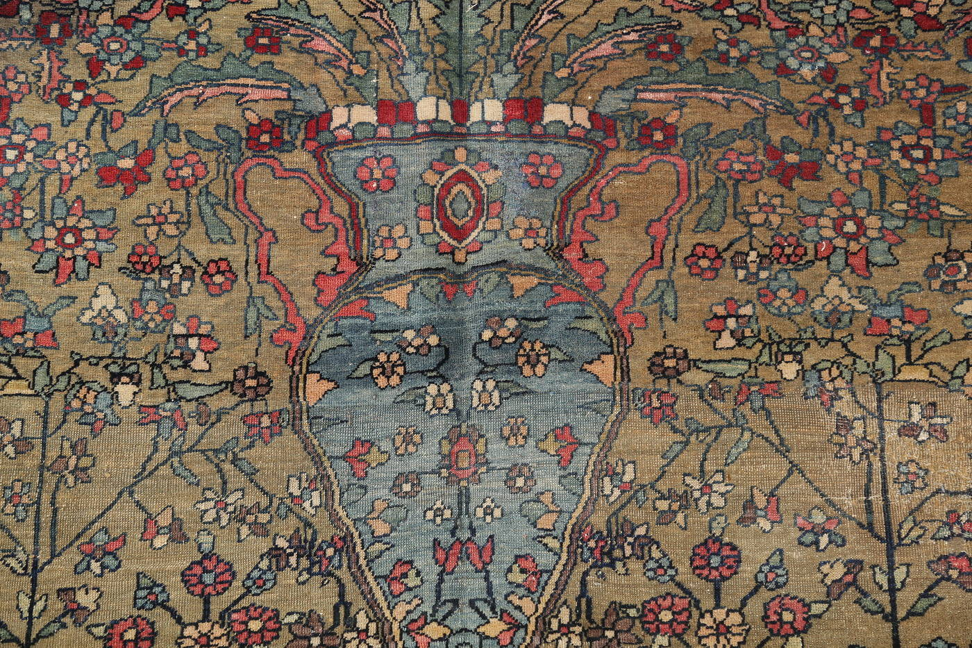 Antique Green Pictorial Kashan Mohtasham Persian Area Rug 4x6 image 10