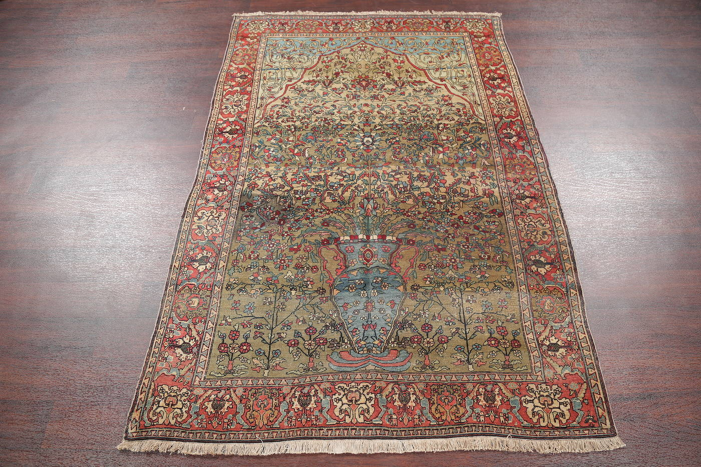 Antique Green Pictorial Kashan Mohtasham Persian Area Rug 4x6 image 19