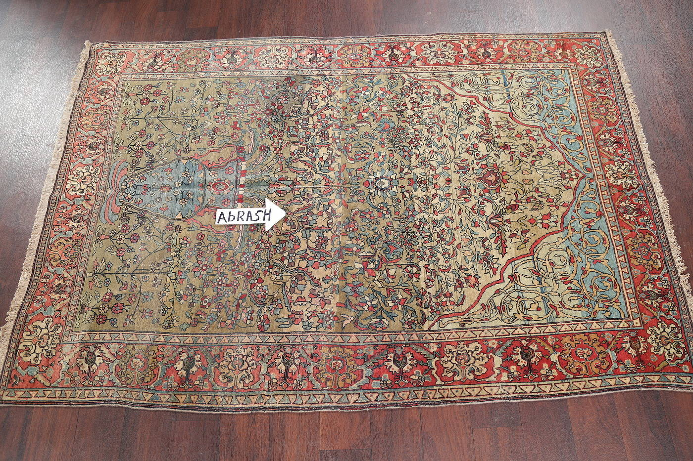 Antique Green Pictorial Kashan Mohtasham Persian Area Rug 4x6 image 13