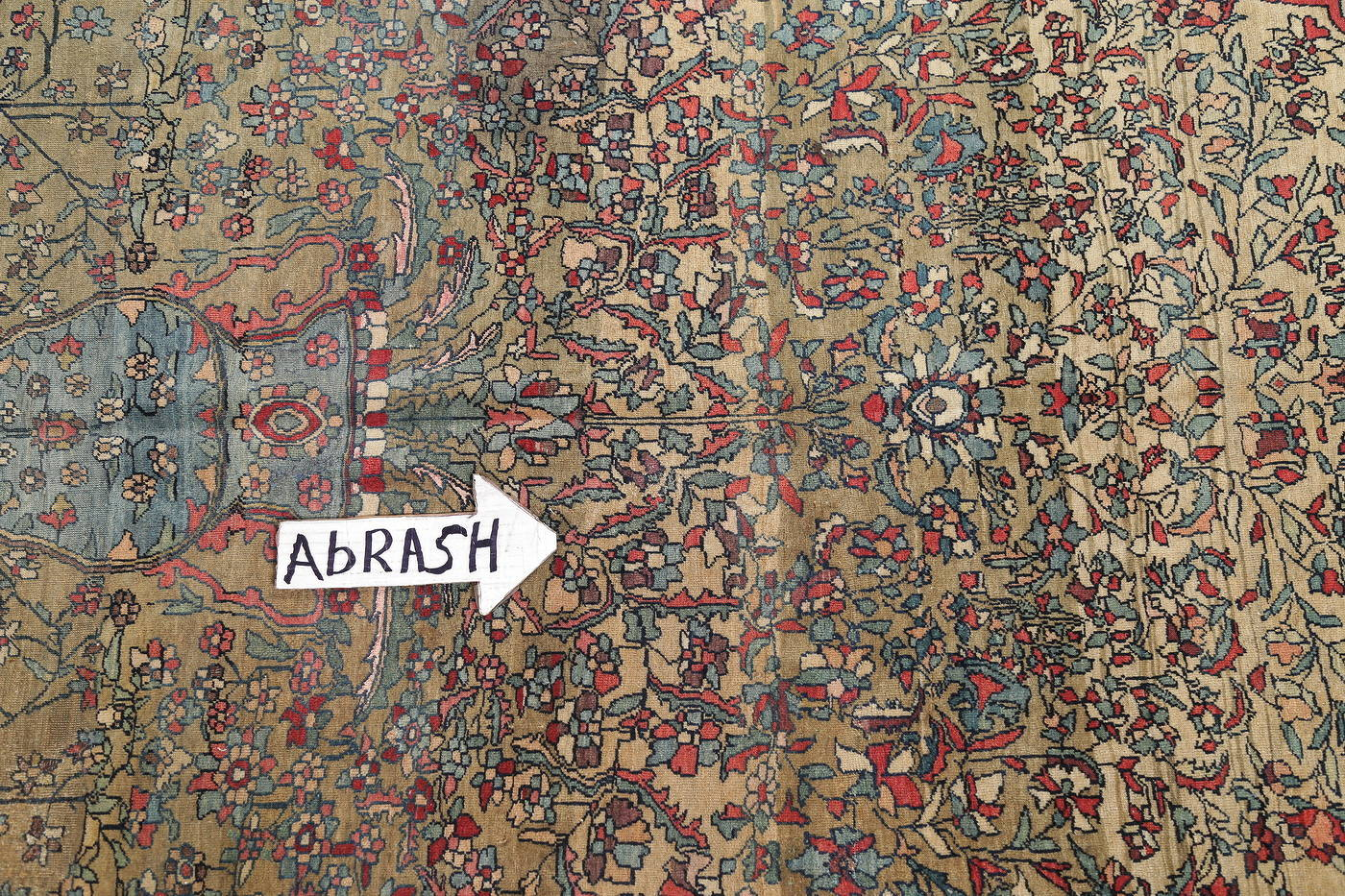 Antique Green Pictorial Kashan Mohtasham Persian Area Rug 4x6 image 12