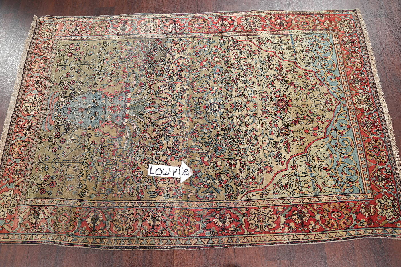 Antique Green Pictorial Kashan Mohtasham Persian Area Rug 4x6 image 15
