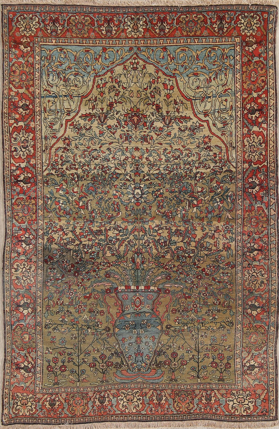 Antique Green Pictorial Kashan Mohtasham Persian Area Rug 4x6 image 1