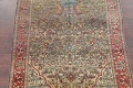 Antique Green Pictorial Kashan Mohtasham Persian Area Rug 4x6 image 3