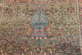 Antique Green Pictorial Kashan Mohtasham Persian Area Rug 4x6 image 16
