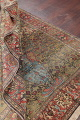 Antique Green Pictorial Kashan Mohtasham Persian Area Rug 4x6 image 21